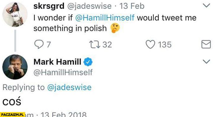 Zastanawiam się czy Mark Hamill napisałby do mnie coś na twitterze po polsku? Coś Luke Skywalker