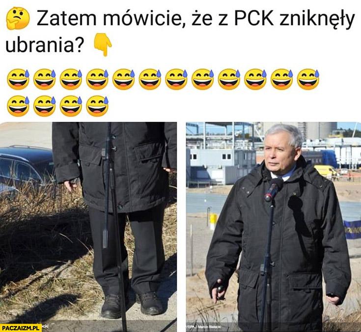 Zatem mówicie, że z PCK zniknęły ubrania Kaczyński w za dużej kurtce