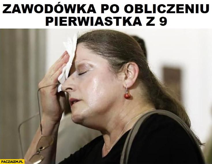 Zawodówka po obliczeniu pierwiastka z 9 Krystyna Pawłowicz spocona zmęczona