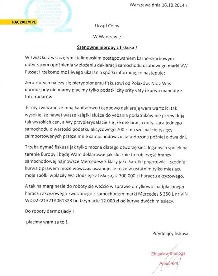 Zbigniew Stonoga pismo do Urzędu Celnego