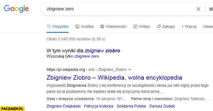 Zbigniew zero wyszukiwarka Google znajduje Ziobro