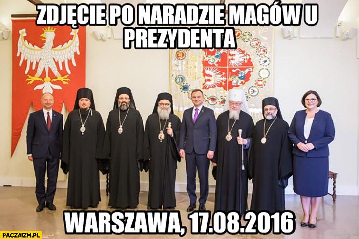 Zdjęcie po naradzie magów u prezydenta Andrzej Duda