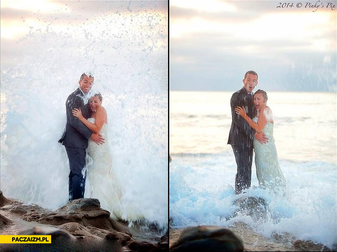 Zdjęcie ślubne nad morzem