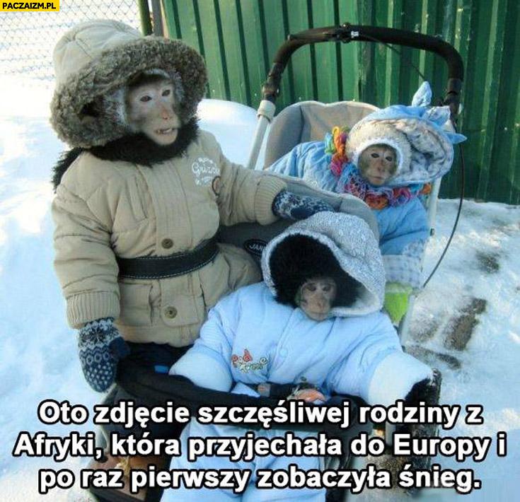 Zdjęcie szczęśliwej rodziny z Afryki która przyjechała do Europy i po raz pierwszy zobaczyła śnieg małpy