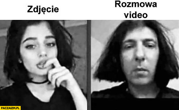 Zdjęcie vs rozmowa video wygląd laski dziewczyny porównanie