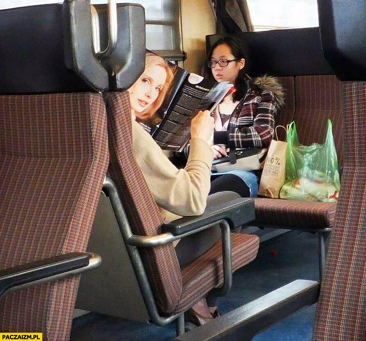 Zdjęcie w gazecie wygląda jak głowa człowieka w pociągu
