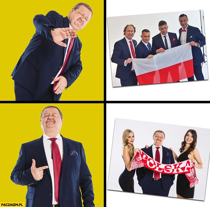 Zdzisław Kręcina zdjęcie z facetami nie chce, woli zdjęcie z modelkami kibic kibicowanie reprezentacji