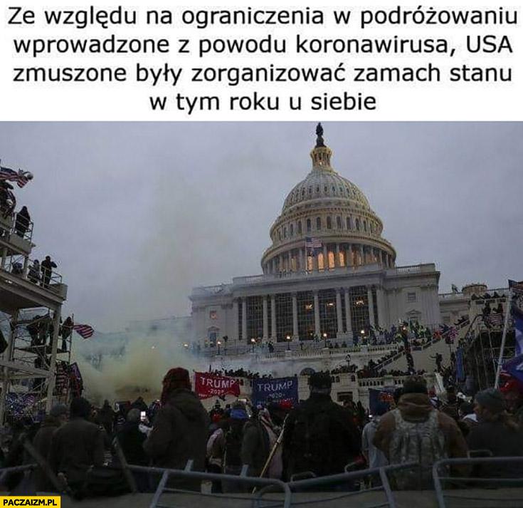 Ze względu na ograniczenia w podróżowaniu wprowadzone z powodu koronawirusa USA zmuszone było zorganizować zamach stanu w tym roku u siebie