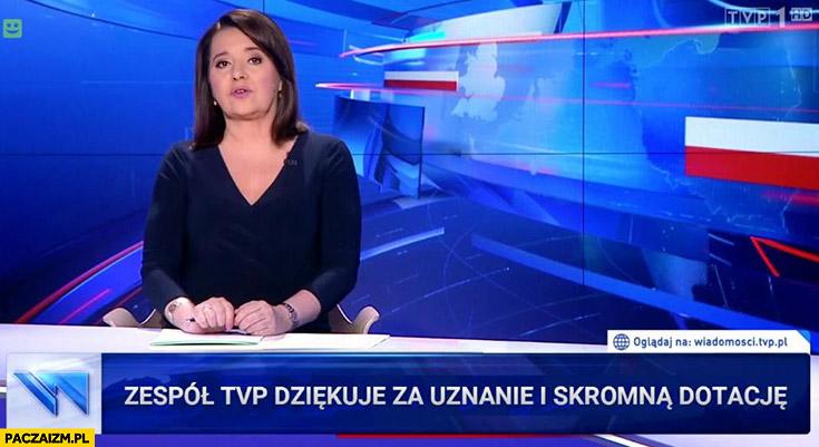 Zespół TVP dziękuje za uznanie i skromną dotację pasek Wiadomości TVP