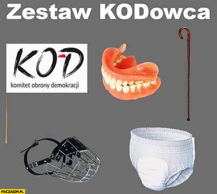 Zestaw KODowca: sztuczna szczęka, laska, pielucha pampers, kaganiec, sztandar