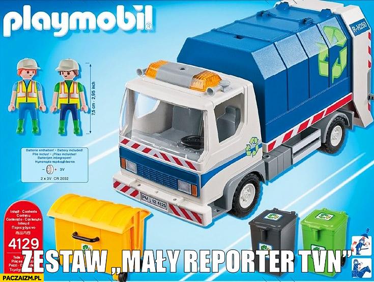 Zestaw mały reporter TVN śmieciarka zabawkowa