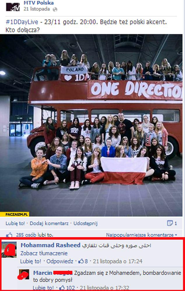 Zgadzam się z Mohamedem bombardowanie to dobry pomysł fanki One Direction