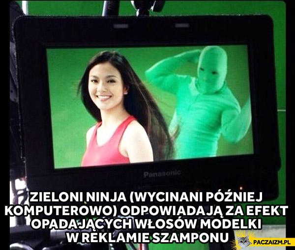 Zieloni ninja w reklamie szamponu