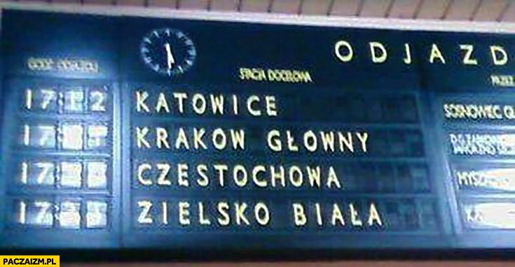 Zielsko Biała Bielsko tablica odjazdów na dworcu kolejowym PKP