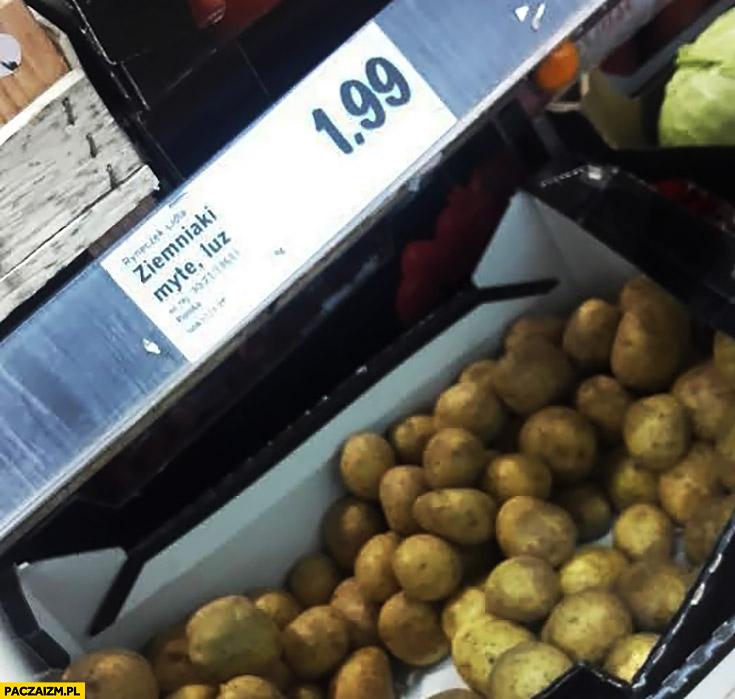 Ziemniaki myte, luz. Napis w Lidlu
