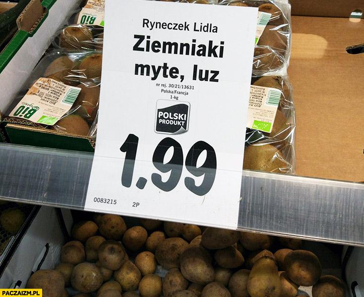 Ziemniaki myte, luz. Ryneczek Lidla napis
