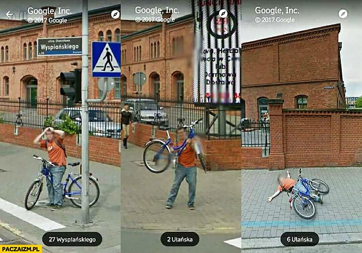 Ziomek z rowerem trolluje Google Maps wygłupia się przed samochodem Google Street View