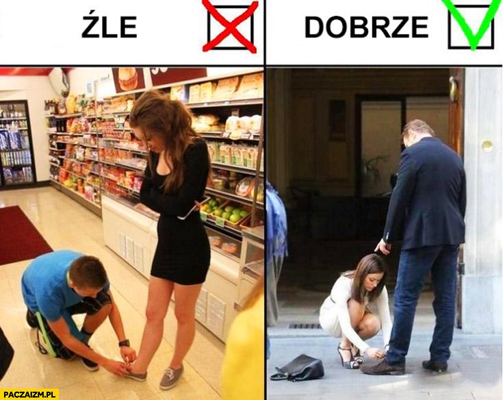 Źle dobrze mężczyzna wiąże buty kobiecie, kobieta wiąże mężczyźnie