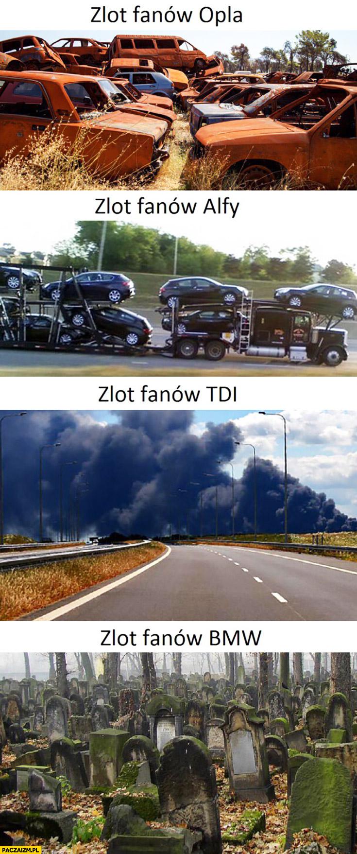 Zlot fanów Opla rdza, Alfy na lawecie, TDI kłęby dymu, BMW na cmentarzu porównanie
