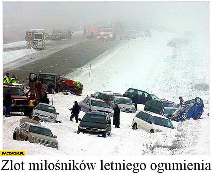 Zlot miłośników letniego ogumienia wypadek poślizg zima