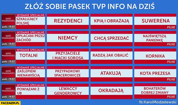 Złóż sobie pasek TVP Info na dziś bloczki puzzle elementy paski grozy Wiadomości