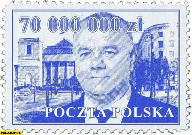 Znaczek poczta polska Sasin 70 milionów