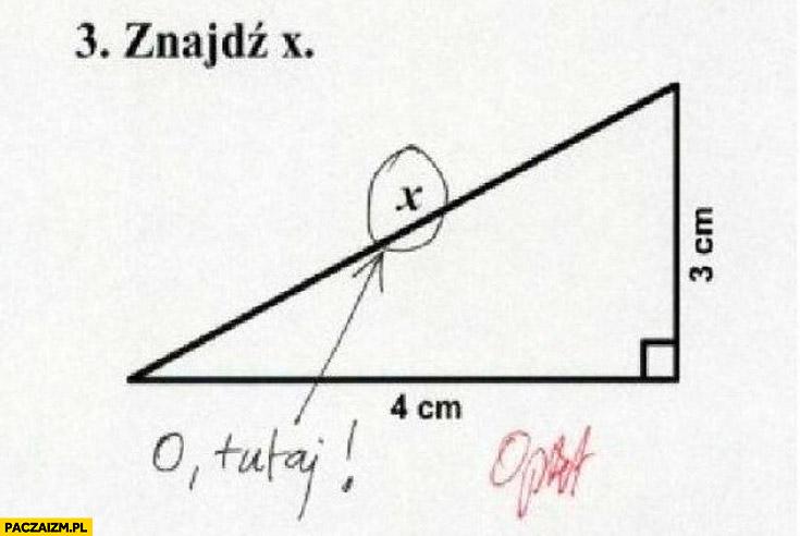 Znajdź x o tutaj zadanie matematyka