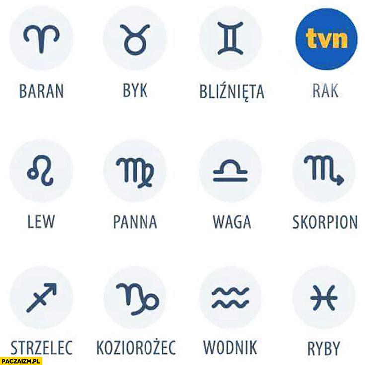 Znaki zodiaku rak logo TVN