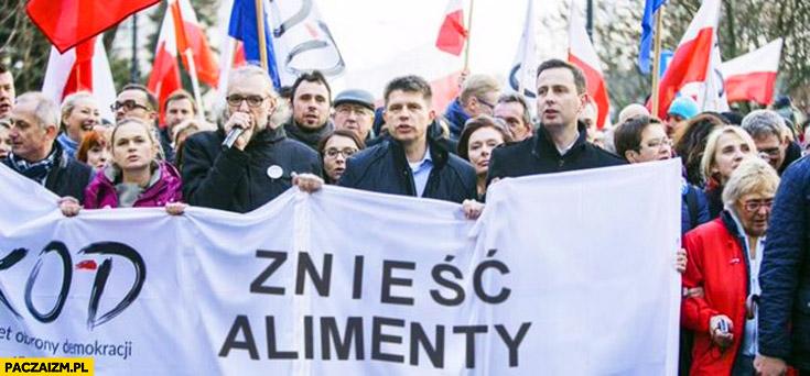 Znieść alimenty napis transparent demonstracja KOD Mateusz Kijowski