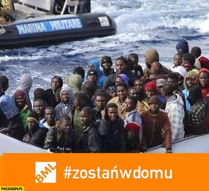 Zostań w domu uchodźcy nielegalni imigranci koronawirus