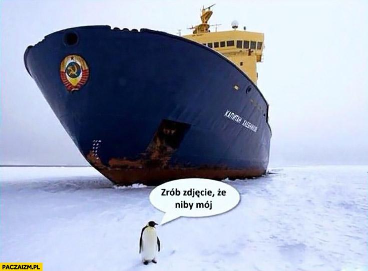 Zrób zdjęcie, że niby mój pingwin okręt