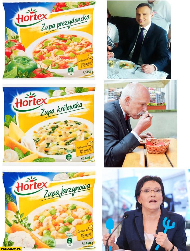 Zupa prezydencka Duda, zupa królewska Korwin, zupa jarzynowa Kopacz hortex
