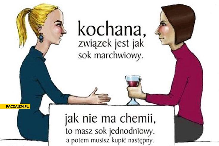 Związek jest jak sok marchwiowy nie masz chemii sok jednodniowy