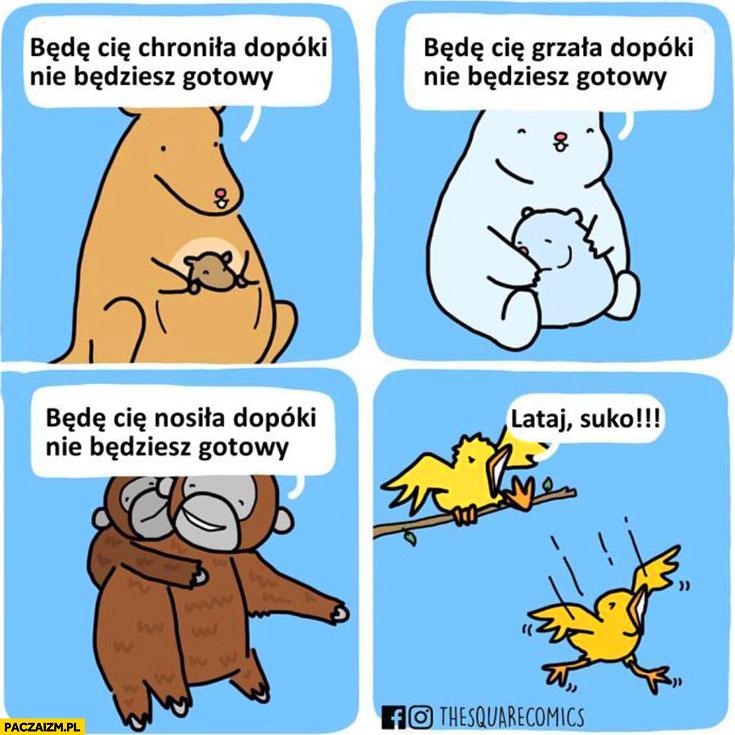 Zwierzęta: będę Cię chronić, grzać, nosić dopóki nie będziesz gotowy, ptaki: lataj suko