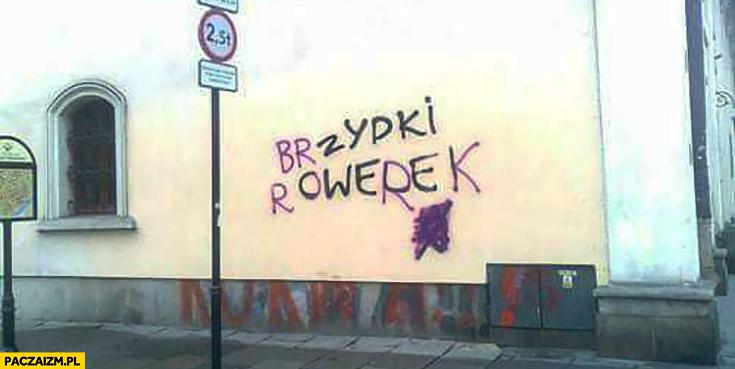 Żydki cwele przerobione na brzydki rowerek napis na murze