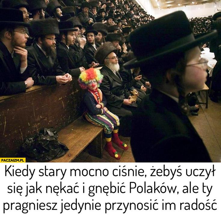 Żydzi dziecko klaun kiedy stary mocno ciśnie żebyś uczył się jak nękać i gnębić Polaków ale Ty pragniesz jedynie przynosić im radość