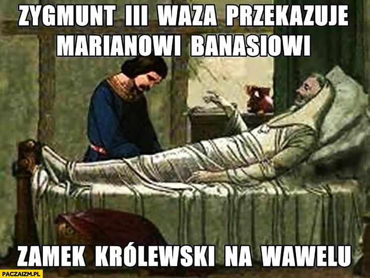Zygmunt III Waza przekazuje Marianowi Banasiowi zamek królewski na Wawelu